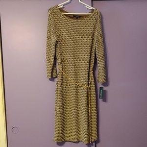 Sharagano long sleeve midi dress